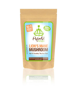 Hybrid Herbs Lion's Mane Mushroom 10:1 Concentrated Extract Powder-2oz