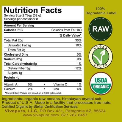 Vivapura Pecan Butter - Raw, Organic  8 oz